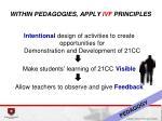 within pedagogies apply ivf principles