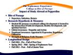 the sophomore experience college as rite of passage impact of study abroad at pepperdine