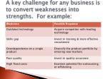 a key challenge for any business is to convert weaknesses into strengths for example