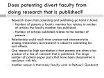does patenting divert faculty from doing research that is published
