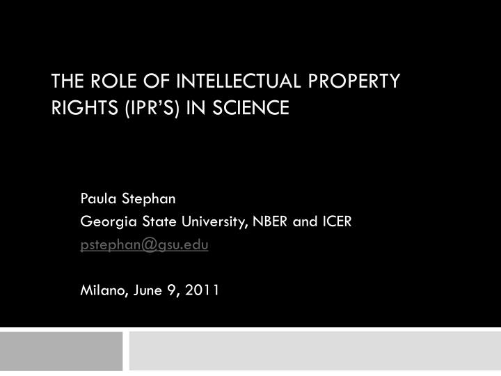 the role of intellectual property rights ipr s in science n.