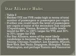 star alliance hubs