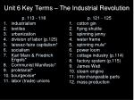 unit 6 key terms the industrial revolution