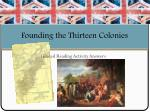 founding the thirteen colonies