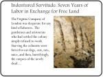 indentured servitude seven years of labor in exchange for free land