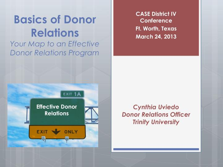 basics of donor relations your map to an effective donor relations program n.