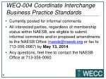 weq 004 coordinate interchange business practice standards