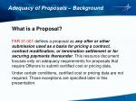 adequacy of proposals background
