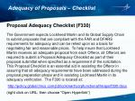 adequacy of proposals checklist