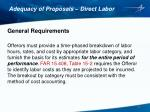 adequacy of proposals direct labor1