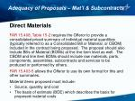 adequacy of proposals mat l subcontracts1