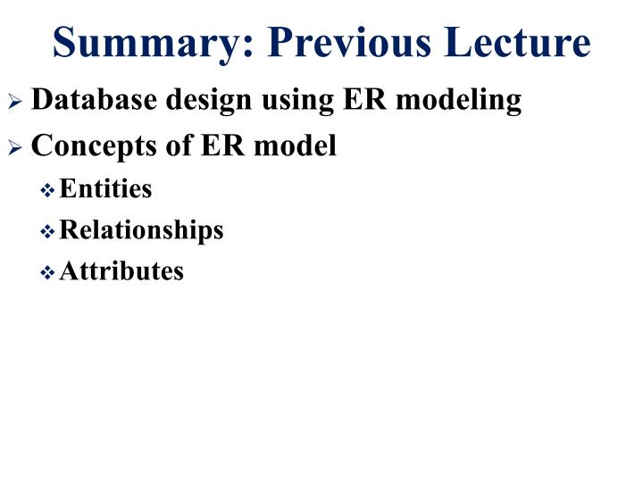 Summary previous lecture