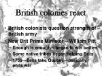 british colonies react