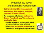 frederick w taylor and scientific management