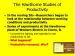 the hawthorne studies of productivity
