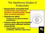 the hawthorne studies of productivity1