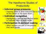 the hawthorne studies of productivity2