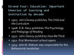 strand four education important theories of learning and instruction by decade