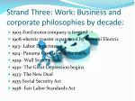 strand three work business and corporate philosophies by decade