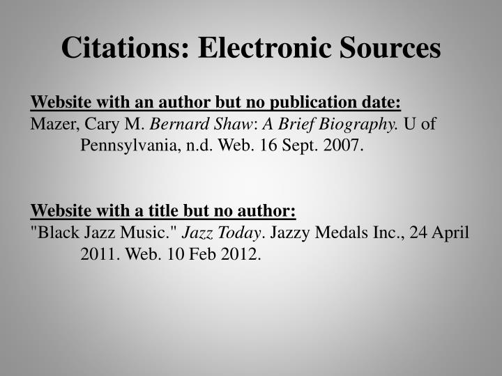 Citations: Electronic Source