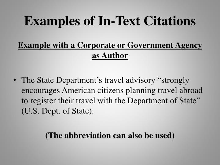 Examples of In-Text Citations