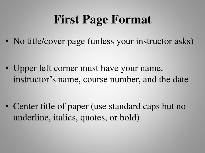 First Page Format