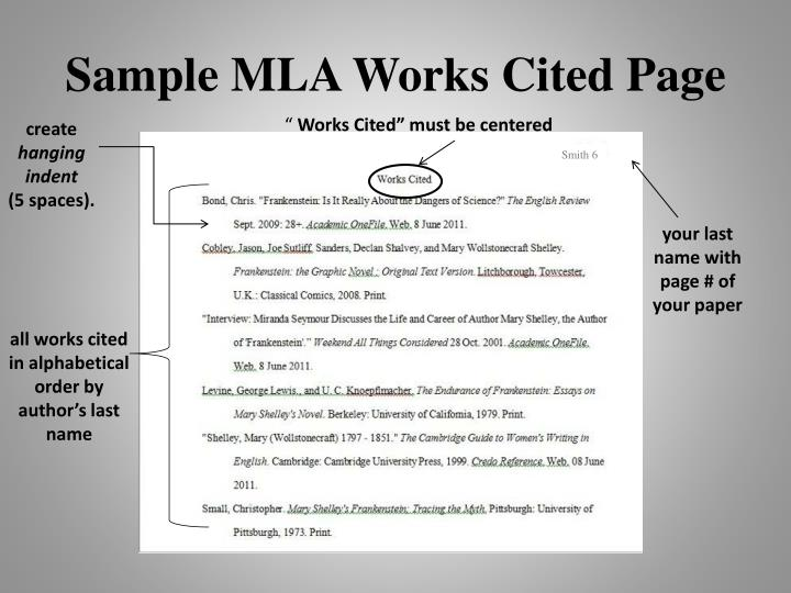 ppt using mla style modern language association for paper