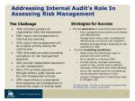 addressing internal audit s role in assessing risk management