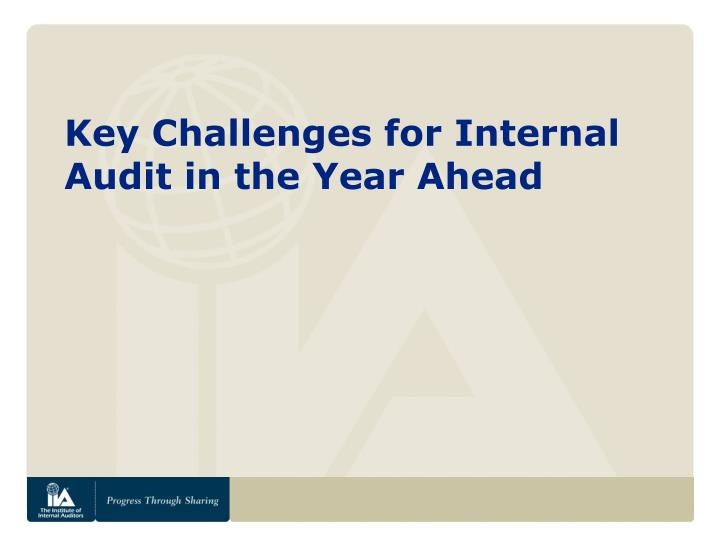 Key Challenges for Internal Audit in the Year Ahead