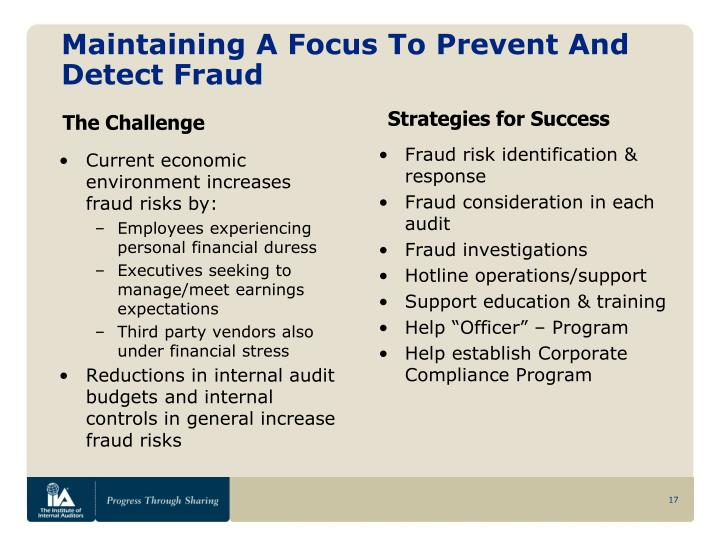 Maintaining A Focus To Prevent And Detect Fraud