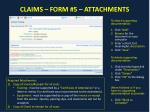 claims form 5 attachments