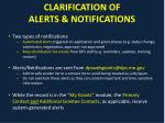 clarification of alerts notifications