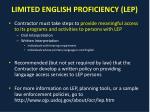 limited english proficiency lep