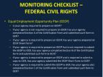 monitoring checklist federal civil rights