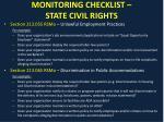 monitoring checklist state civil rights