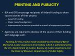 printing and publicity