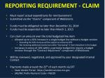 reporting requirement claim