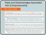 risks and disadvantages associated with entrepreneurship