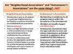 are neighborhood associations and homeowner s associations are the same thing no