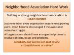 neighborhood association hard work