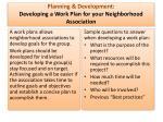 planning development developing a work plan for your neighborhood association