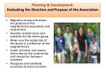 planning development evaluating the direction and purpose of the association