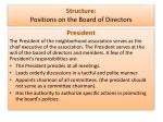 structure positions on the board of directors