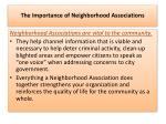 the importance of neighborhood associations