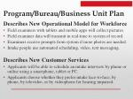 program bureau business unit plan