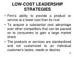 low cost leadership strategies