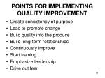 points for implementing quality improvement
