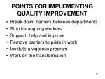 points for implementing quality improvement1