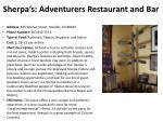 sherpa s adventurers restaurant and bar