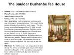 the boulder dushanbe tea house